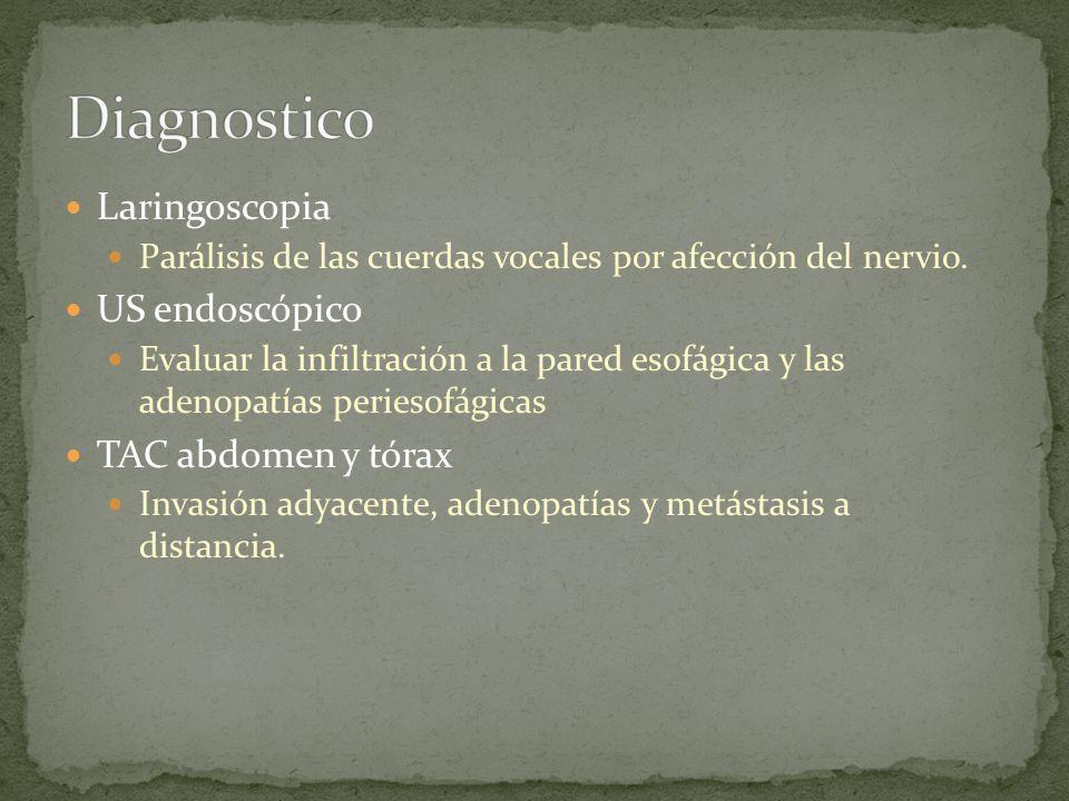 Laringoscopia Parálisis de las cuerdas vocales por afección del nervio. US endoscópico Evaluar la infiltración a la pared esofágica y las adenopatías