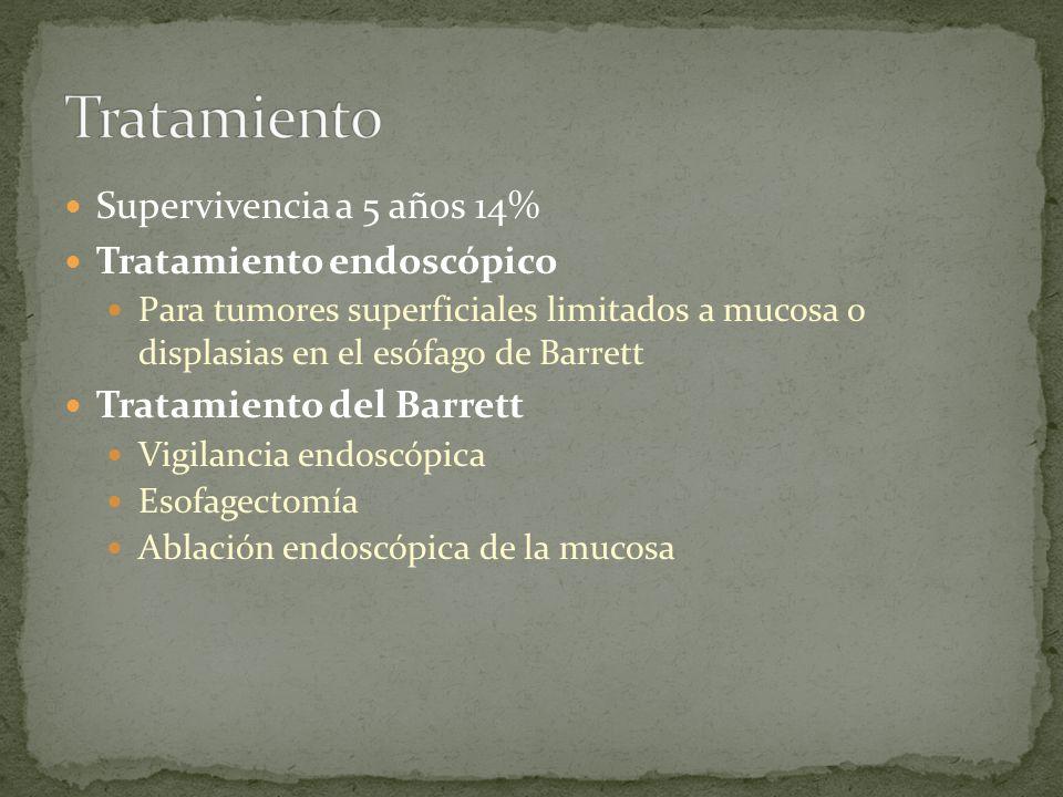 Supervivencia a 5 años 14% Tratamiento endoscópico Para tumores superficiales limitados a mucosa o displasias en el esófago de Barrett Tratamiento del