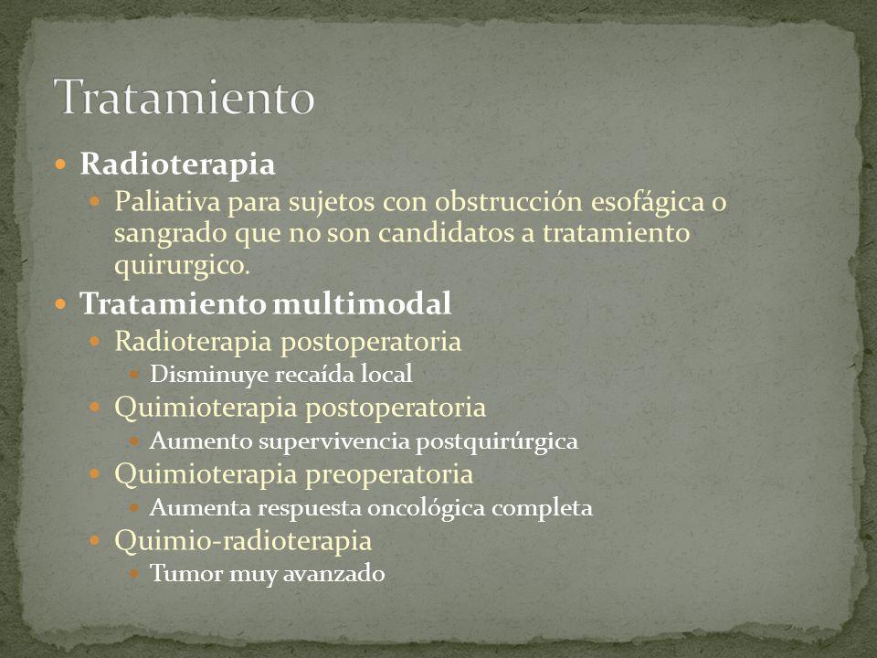 Radioterapia Paliativa para sujetos con obstrucción esofágica o sangrado que no son candidatos a tratamiento quirurgico. Tratamiento multimodal Radiot