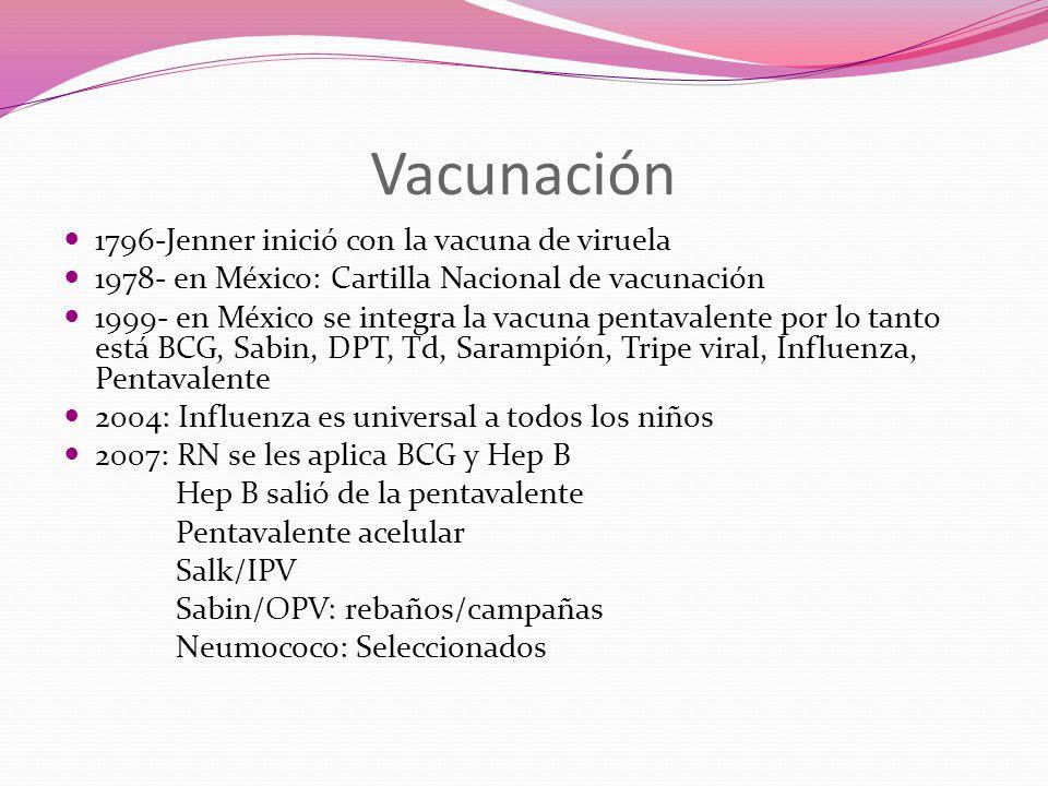 Vacunación 1796-Jenner inició con la vacuna de viruela 1978- en México: Cartilla Nacional de vacunación 1999- en México se integra la vacuna pentavalente por lo tanto está BCG, Sabin, DPT, Td, Sarampión, Tripe viral, Influenza, Pentavalente 2004: Influenza es universal a todos los niños 2007: RN se les aplica BCG y Hep B Hep B salió de la pentavalente Pentavalente acelular Salk/IPV Sabin/OPV: rebaños/campañas Neumococo: Seleccionados