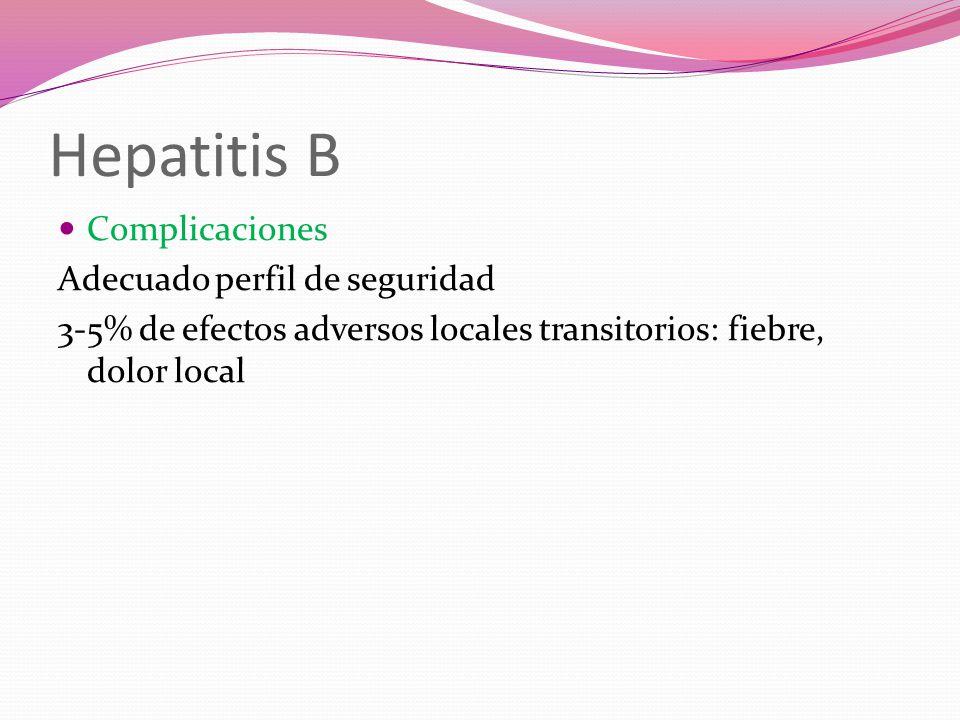Hepatitis B Complicaciones Adecuado perfil de seguridad 3-5% de efectos adversos locales transitorios: fiebre, dolor local
