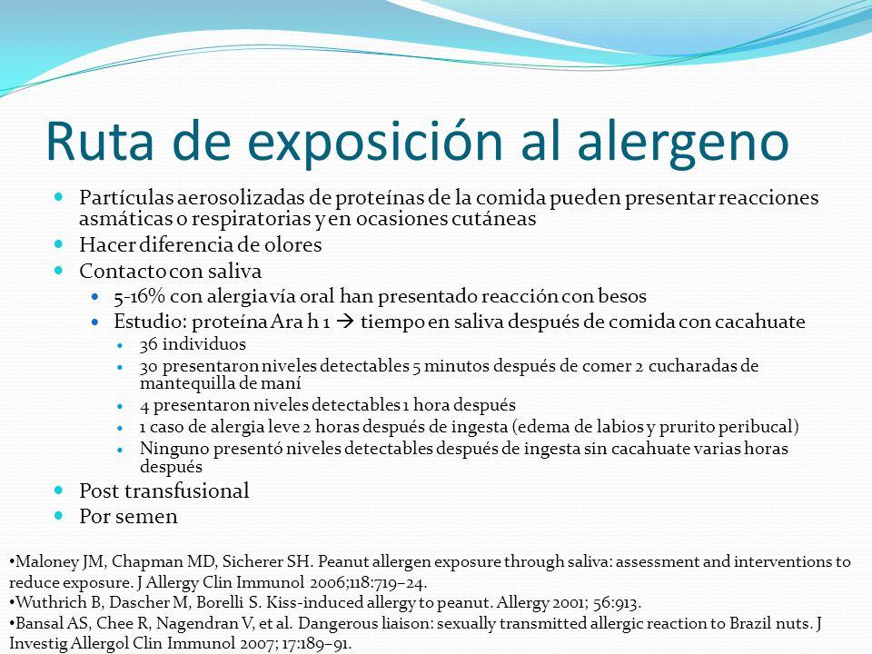 Ruta de exposición al alergeno Partículas aerosolizadas de proteínas de la comida pueden presentar reacciones asmáticas o respiratorias y en ocasiones