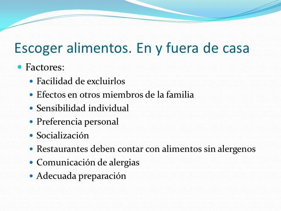 Escoger alimentos. En y fuera de casa Factores: Facilidad de excluirlos Efectos en otros miembros de la familia Sensibilidad individual Preferencia pe