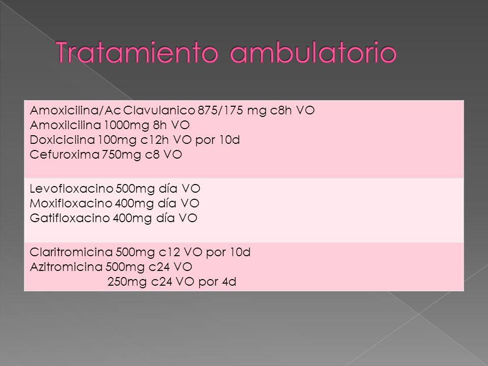 Amoxicilina/Ac Clavulanico 875/175 mg c8h VO Amoxilcilina 1000mg 8h VO Doxiciclina 100mg c12h VO por 10d Cefuroxima 750mg c8 VO Levofloxacino 500mg día VO Moxifloxacino 400mg día VO Gatifloxacino 400mg día VO Claritromicina 500mg c12 VO por 10d Azitromicina 500mg c24 VO 250mg c24 VO por 4d