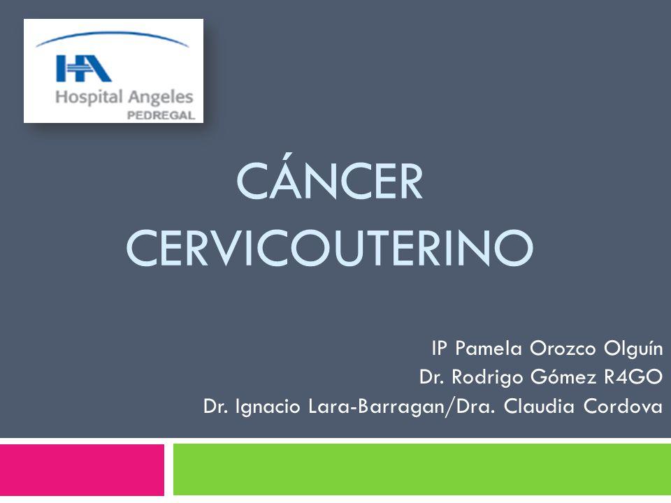 CÁNCER CERVICOUTERINO IP Pamela Orozco Olguín Dr. Rodrigo Gómez R4GO Dr. Ignacio Lara-Barragan/Dra. Claudia Cordova