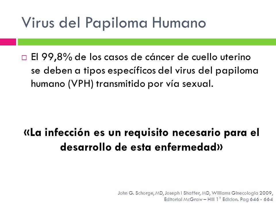 Virus del Papiloma Humano El 99,8% de los casos de cáncer de cuello uterino se deben a tipos específicos del virus del papiloma humano (VPH) transmiti