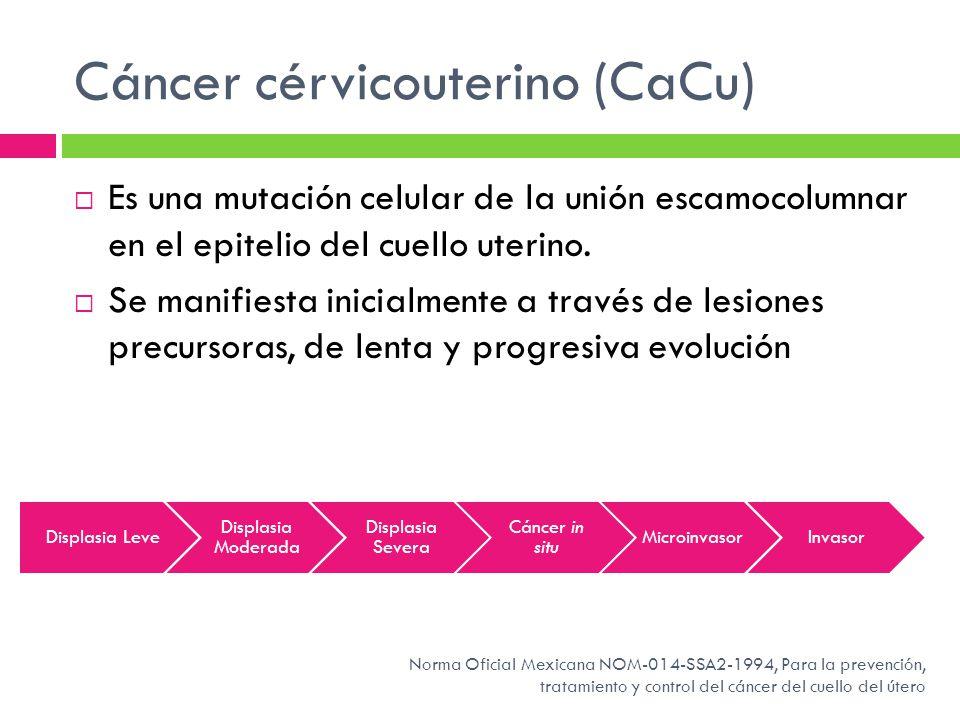 Cáncer cérvicouterino (CaCu) Es una mutación celular de la unión escamocolumnar en el epitelio del cuello uterino. Se manifiesta inicialmente a través