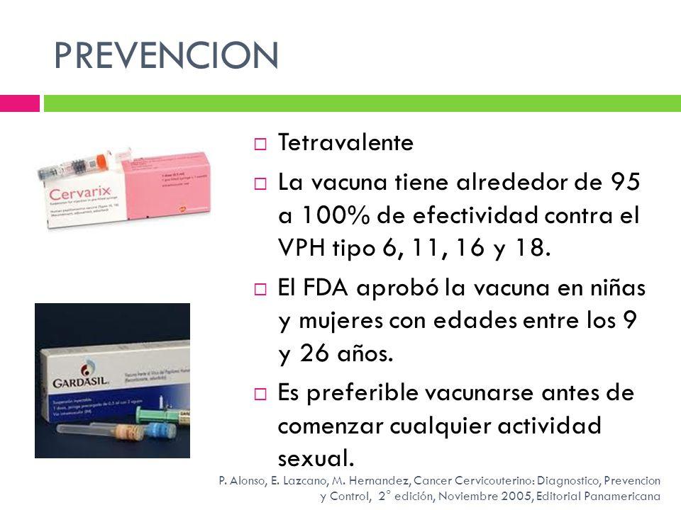 PREVENCION Tetravalente La vacuna tiene alrededor de 95 a 100% de efectividad contra el VPH tipo 6, 11, 16 y 18. El FDA aprobó la vacuna en niñas y mu