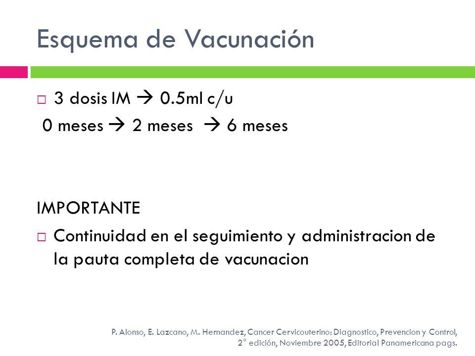 Esquema de Vacunación 3 dosis IM 0.5ml c/u 0 meses 2 meses 6 meses IMPORTANTE Continuidad en el seguimiento y administracion de la pauta completa de v