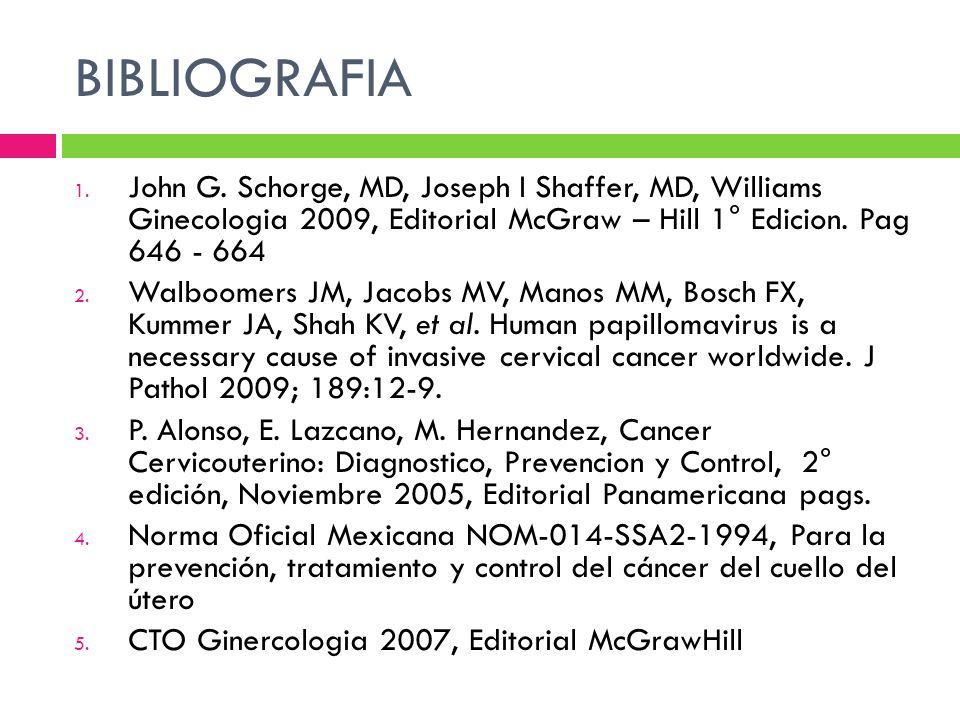 BIBLIOGRAFIA 1. John G. Schorge, MD, Joseph I Shaffer, MD, Williams Ginecologia 2009, Editorial McGraw – Hill 1° Edicion. Pag 646 - 664 2. Walboomers