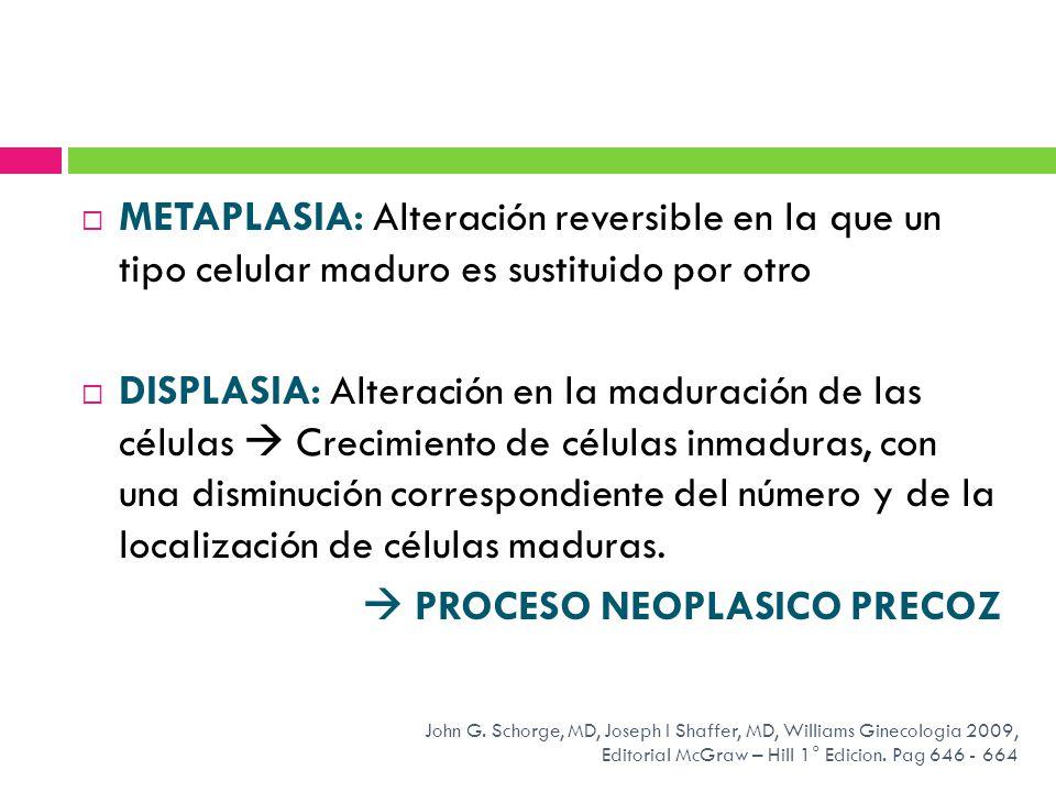 METAPLASIA: Alteración reversible en la que un tipo celular maduro es sustituido por otro DISPLASIA: Alteración en la maduración de las células Crecim