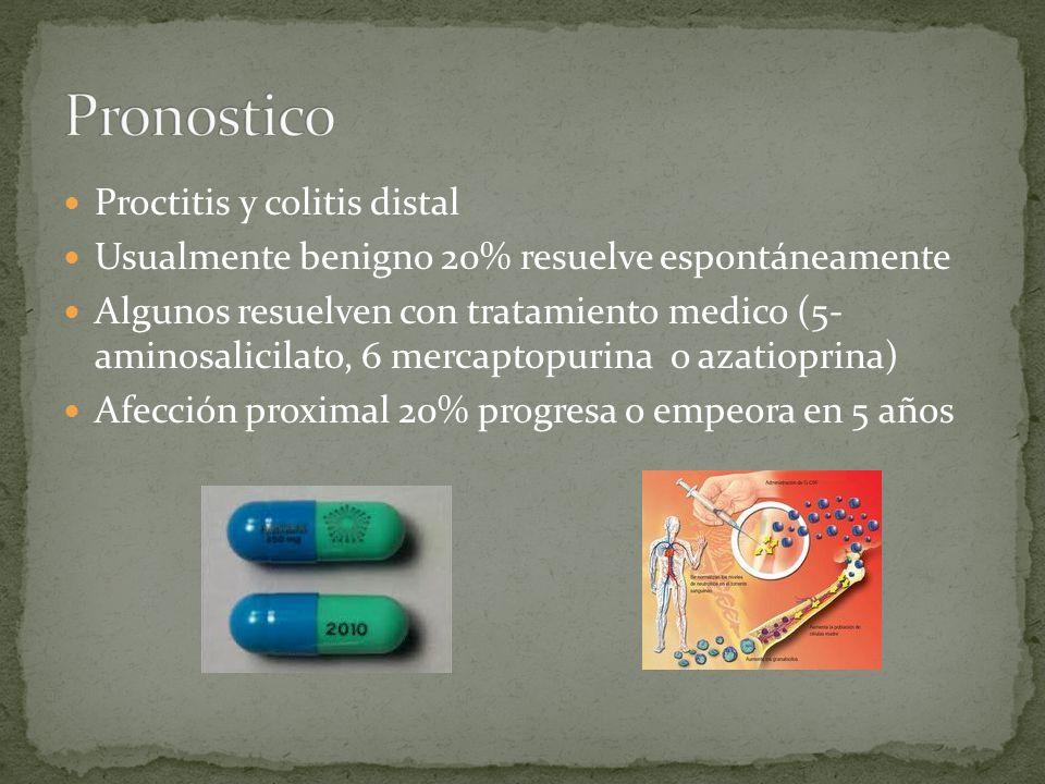 Proctitis y colitis distal Usualmente benigno 20% resuelve espontáneamente Algunos resuelven con tratamiento medico (5- aminosalicilato, 6 mercaptopurina o azatioprina) Afección proximal 20% progresa o empeora en 5 años