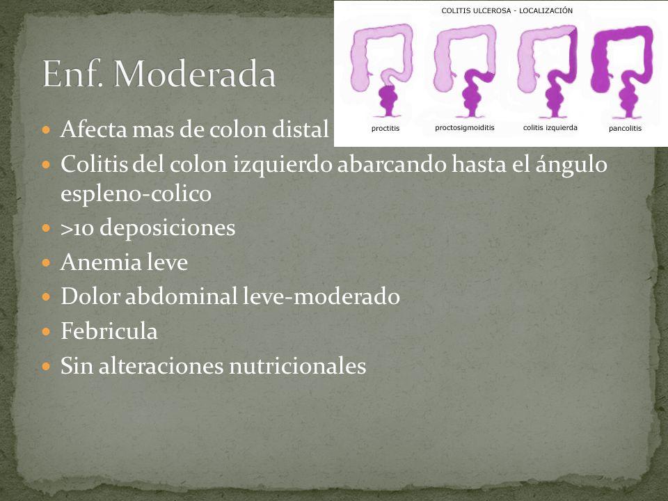 Afecta mas de colon distal Colitis del colon izquierdo abarcando hasta el ángulo espleno-colico >10 deposiciones Anemia leve Dolor abdominal leve-moderado Febricula Sin alteraciones nutricionales