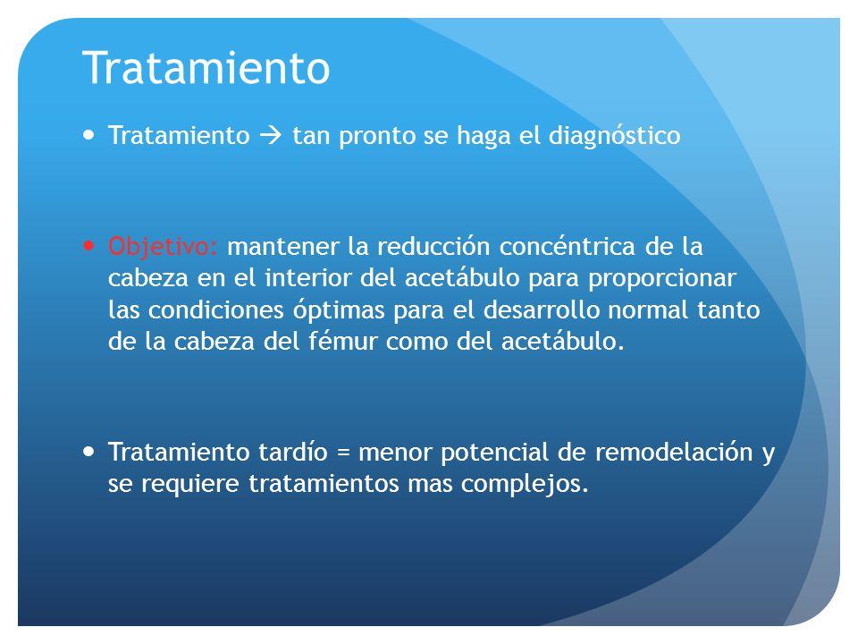 Tratamiento Tratamiento tan pronto se haga el diagnóstico Objetivo: mantener la reducción concéntrica de la cabeza en el interior del acetábulo para p