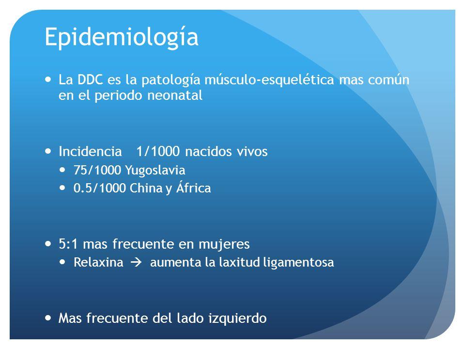 Epidemiología La DDC es la patología músculo-esquelética mas común en el periodo neonatal Incidencia 1/1000 nacidos vivos 75/1000 Yugoslavia 0.5/1000