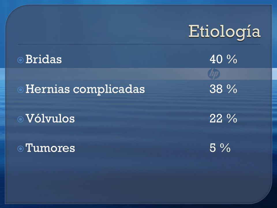 Bridas 40 % Hernias complicadas 38 % Vólvulos 22 % Tumores 5 %