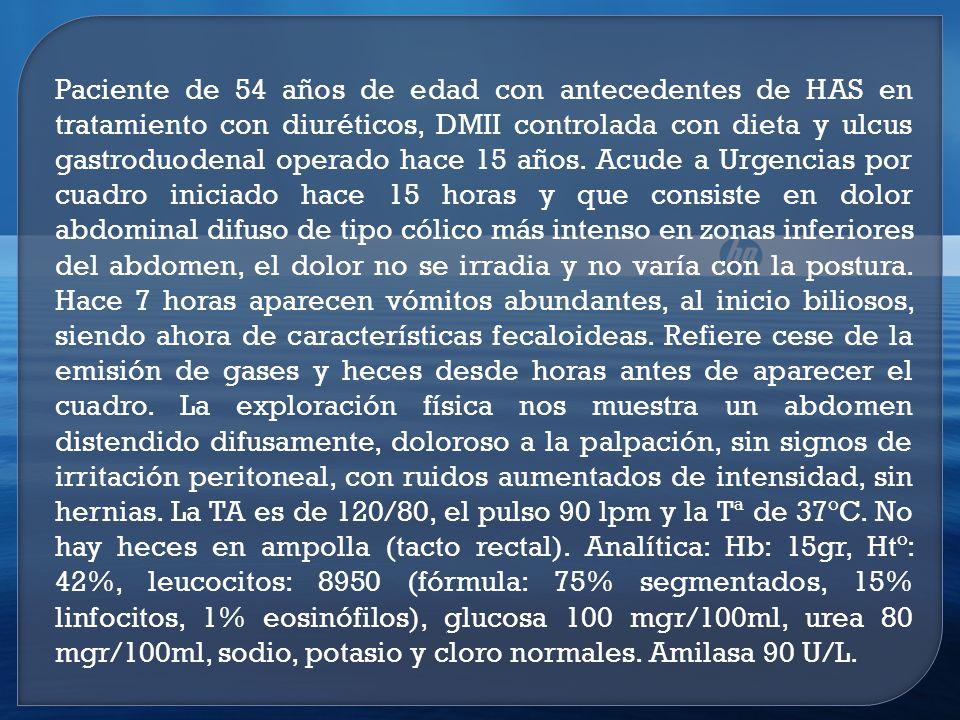Paciente de 54 años de edad con antecedentes de HAS en tratamiento con diuréticos, DMII controlada con dieta y ulcus gastroduodenal operado hace 15 años.