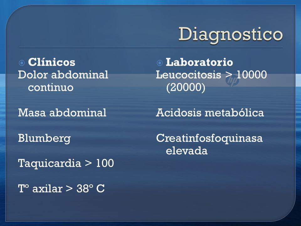 Clínicos Dolor abdominal continuo Masa abdominal Blumberg Taquicardia > 100 Tº axilar > 38º C Laboratorio Leucocitosis > 10000 (20000) Acidosis metabólica Creatinfosfoquinasa elevada