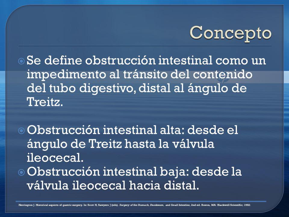 Se define obstrucción intestinal como un impedimento al tránsito del contenido del tubo digestivo, distal al ángulo de Treitz.