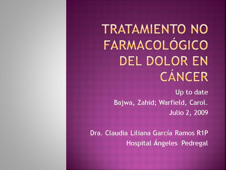 Dolor: Efectos del tumor Complicaciones del tratamiento No relacionado con la enfermedad o el tratamiento.