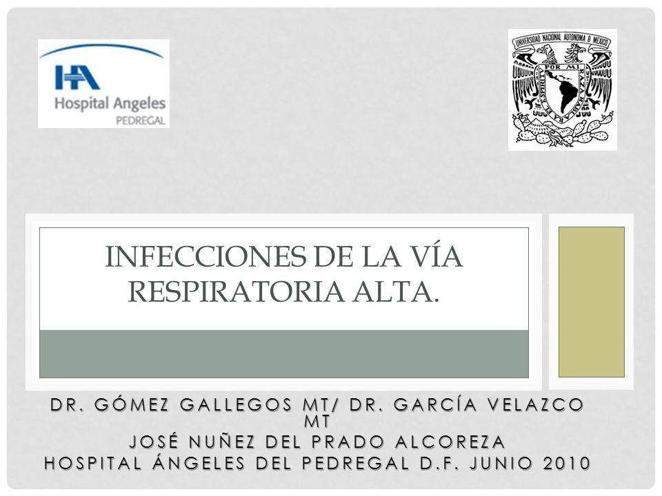 DR. GÓMEZ GALLEGOS MT/ DR. GARCÍA VELAZCO MT JOSÉ NUÑEZ DEL PRADO ALCOREZA HOSPITAL ÁNGELES DEL PEDREGAL D.F. JUNIO 2010 INFECCIONES DE LA VÍA RESPIRA