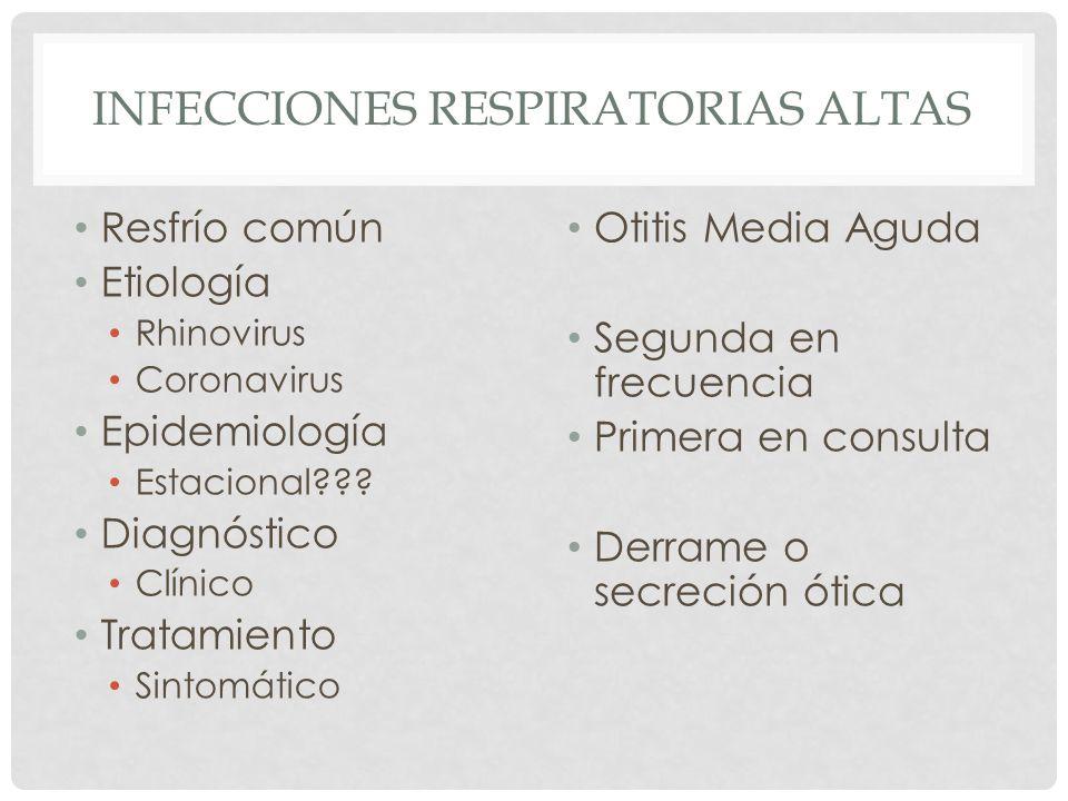 INFECCIONES RESPIRATORIAS ALTAS Resfrío común Etiología Rhinovirus Coronavirus Epidemiología Estacional??? Diagnóstico Clínico Tratamiento Sintomático