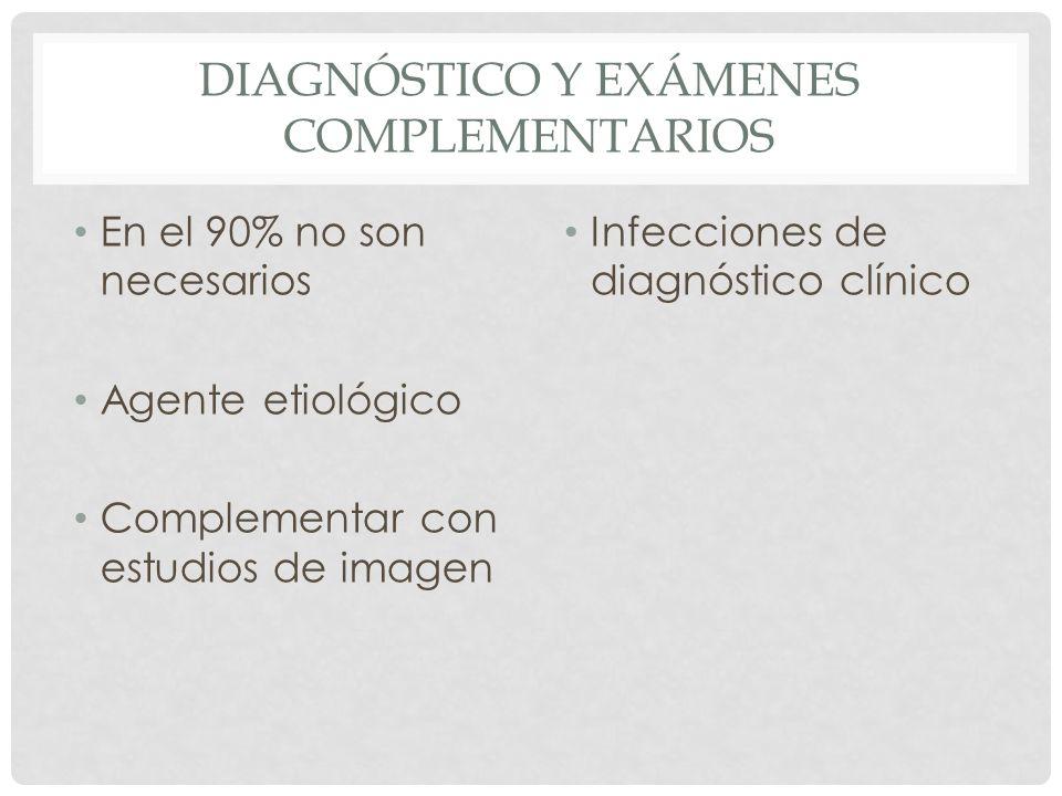DIAGNÓSTICO Y EXÁMENES COMPLEMENTARIOS En el 90% no son necesarios Agente etiológico Complementar con estudios de imagen Infecciones de diagnóstico cl