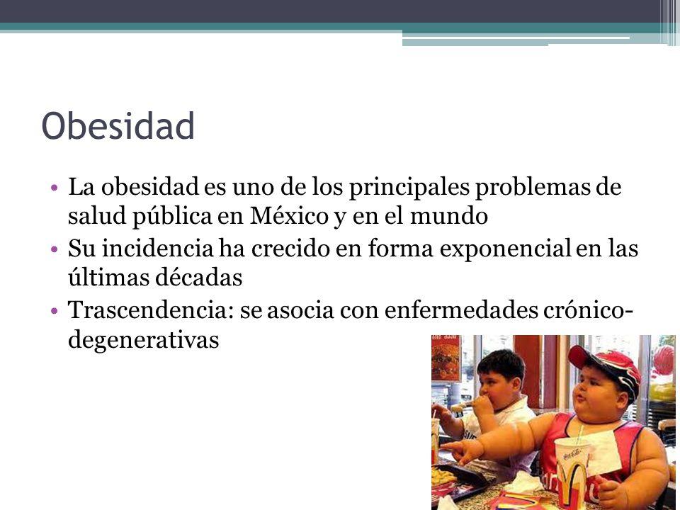 Obesidad La obesidad es uno de los principales problemas de salud pública en México y en el mundo Su incidencia ha crecido en forma exponencial en las
