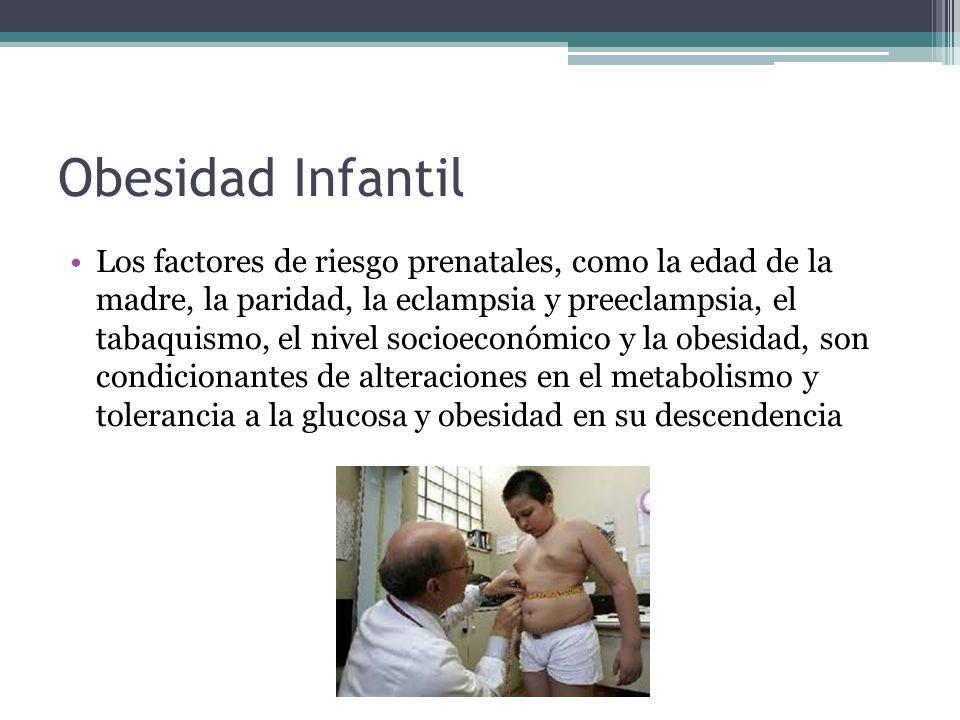 Obesidad Infantil Los factores de riesgo prenatales, como la edad de la madre, la paridad, la eclampsia y preeclampsia, el tabaquismo, el nivel socioe