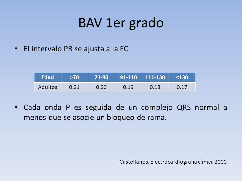 BAV 1er grado El intervalo PR se ajusta a la FC Cada onda P es seguida de un complejo QRS normal a menos que se asocie un bloqueo de rama. Edad>7071-9
