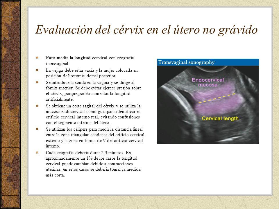 Evaluación del cérvix en el útero no grávido Para medir la longitud cervical con ecografía transvaginal: La vejiga debe estar vacía y la mujer colocad