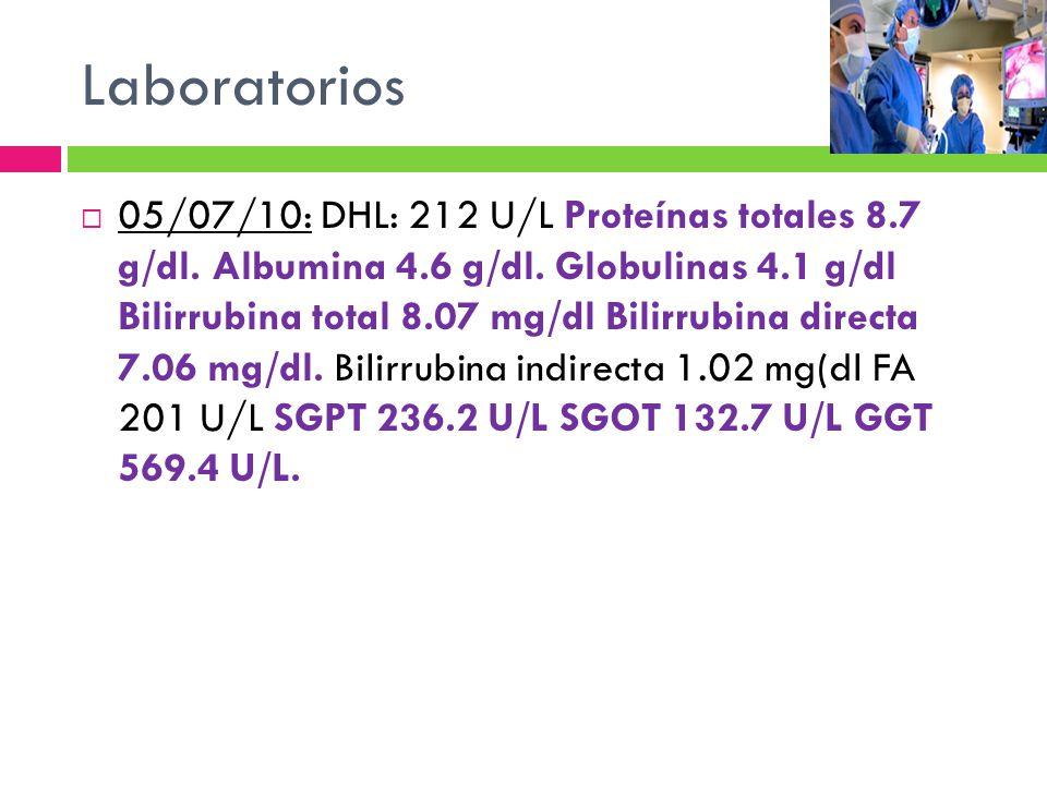 Laboratorios 05/07/10: DHL: 212 U/L Proteínas totales 8.7 g/dl. Albumina 4.6 g/dl. Globulinas 4.1 g/dl Bilirrubina total 8.07 mg/dl Bilirrubina direct