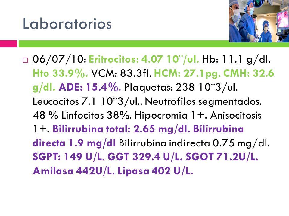 Laboratorios 06/07/10: Eritrocitos: 4.07 10¨/ul. Hb: 11.1 g/dl. Hto 33.9%. VCM: 83.3fl. HCM: 27.1pg. CMH: 32.6 g/dl. ADE: 15.4%. Plaquetas: 238 10¨3/u
