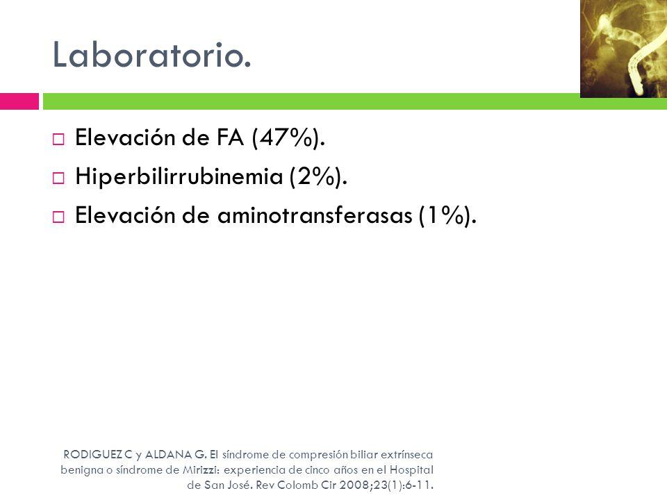 Laboratorio. Elevación de FA (47%). Hiperbilirrubinemia (2%). Elevación de aminotransferasas (1%). RODIGUEZ C y ALDANA G. El síndrome de compresión bi