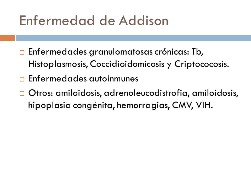 Enfermedad de Addison Enfermedades granulomatosas crónicas: Tb, Histoplasmosis, Coccidioidomicosis y Criptococosis. Enfermedades autoinmunes Otros: am