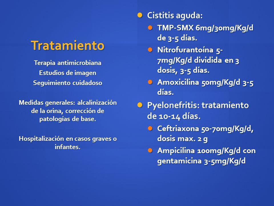 Tratamiento Cistitis aguda: Cistitis aguda: TMP-SMX 6mg/30mg/Kg/d de 3-5 días. TMP-SMX 6mg/30mg/Kg/d de 3-5 días. Nitrofurantoína 5- 7mg/Kg/d dividida