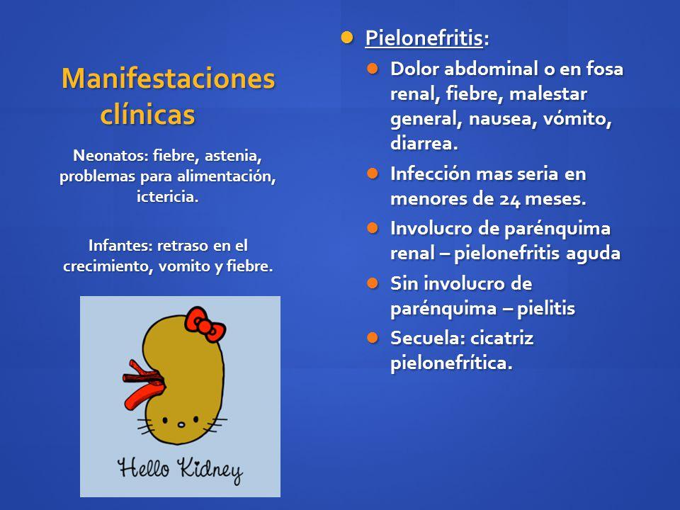Manifestaciones clínicas Pielonefritis: Pielonefritis: Dolor abdominal o en fosa renal, fiebre, malestar general, nausea, vómito, diarrea. Dolor abdom