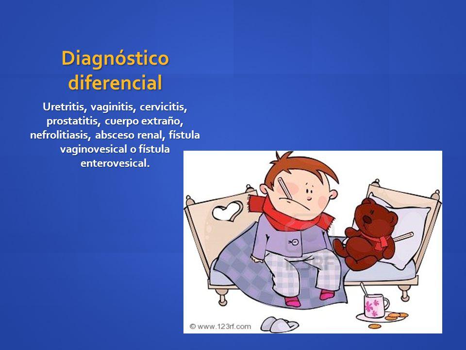 Diagnóstico diferencial Uretritis, vaginitis, cervicitis, prostatitis, cuerpo extraño, nefrolitiasis, absceso renal, fístula vaginovesical o fístula e