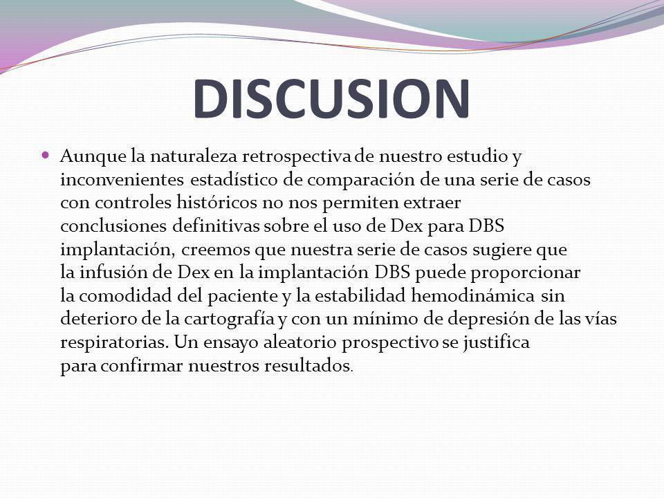 CONCLUSIONES Las principales conclusiones de nuestro estudio son: 1.- 0.3 a 0.6 mcg/kg/h de dex no altero la intensidad de movimiento en la enfermedad