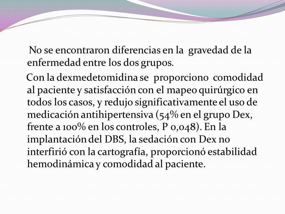 Revisión retrospectiva de pacientes que fueron sometidos a implante de DBS del 2001 a 2004. En 2003, se inició un protocolo clínico con Dexmedetomidin