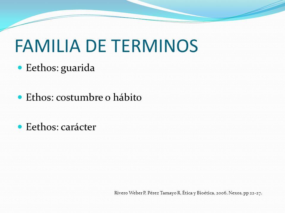 FAMILIA DE TERMINOS Eethos: guarida Ethos: costumbre o hábito Eethos: carácter Rivero Weber P, Pérez Tamayo R, Ética y Bioética, 2006, Nexos, pp 22-27
