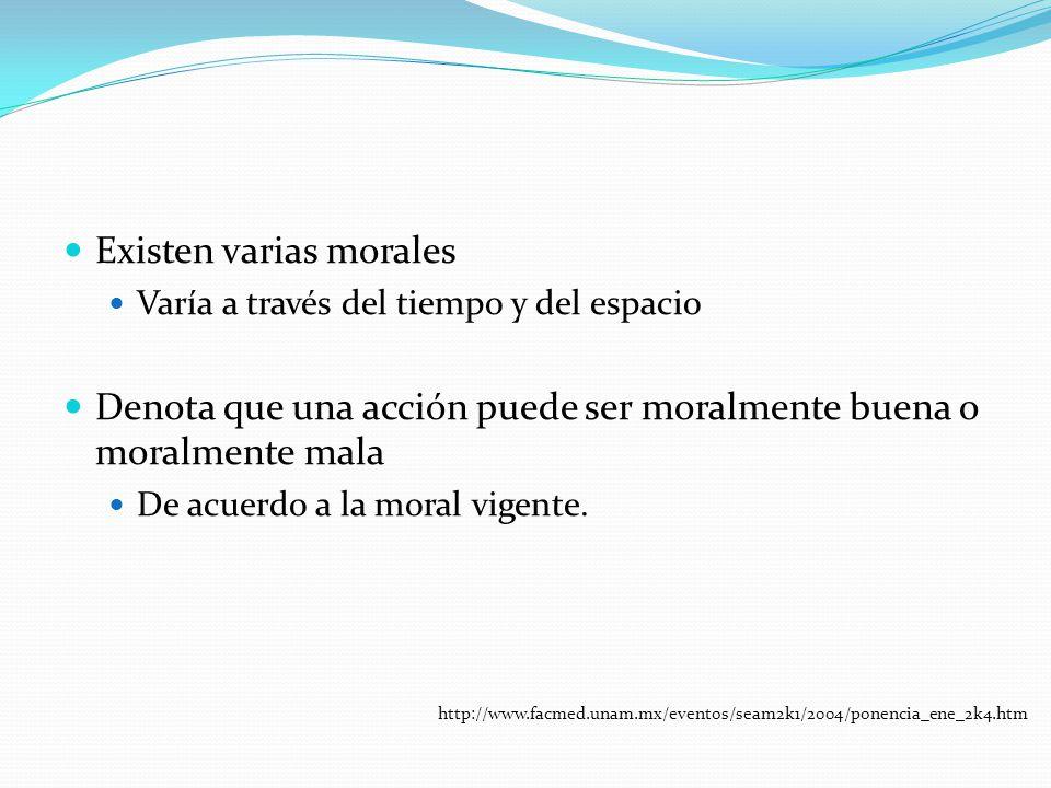 Existen varias morales Varía a través del tiempo y del espacio Denota que una acción puede ser moralmente buena o moralmente mala De acuerdo a la mora