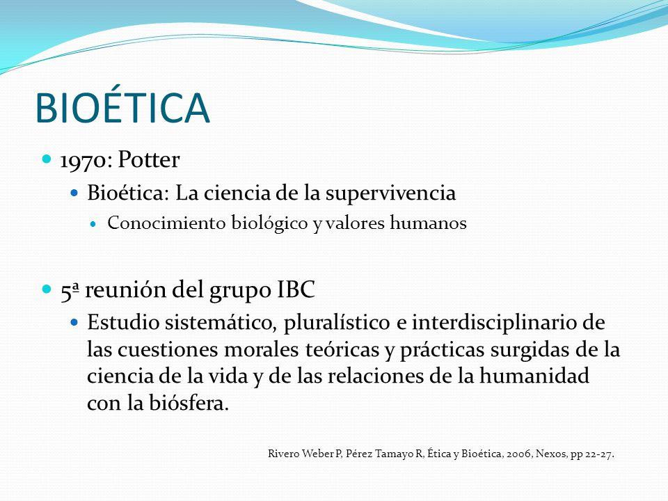 BIOÉTICA 1970: Potter Bioética: La ciencia de la supervivencia Conocimiento biológico y valores humanos 5ª reunión del grupo IBC Estudio sistemático,