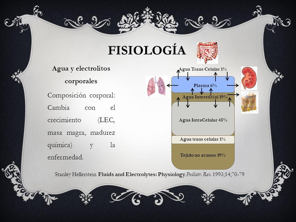 FISIOLOGÍA Stanley Hellerstein Fluids and Electrolytes: Physiology Pediatr. Rev. 1993;14;70-79 Agua y electrolitos corporales Composición corporal: Ca