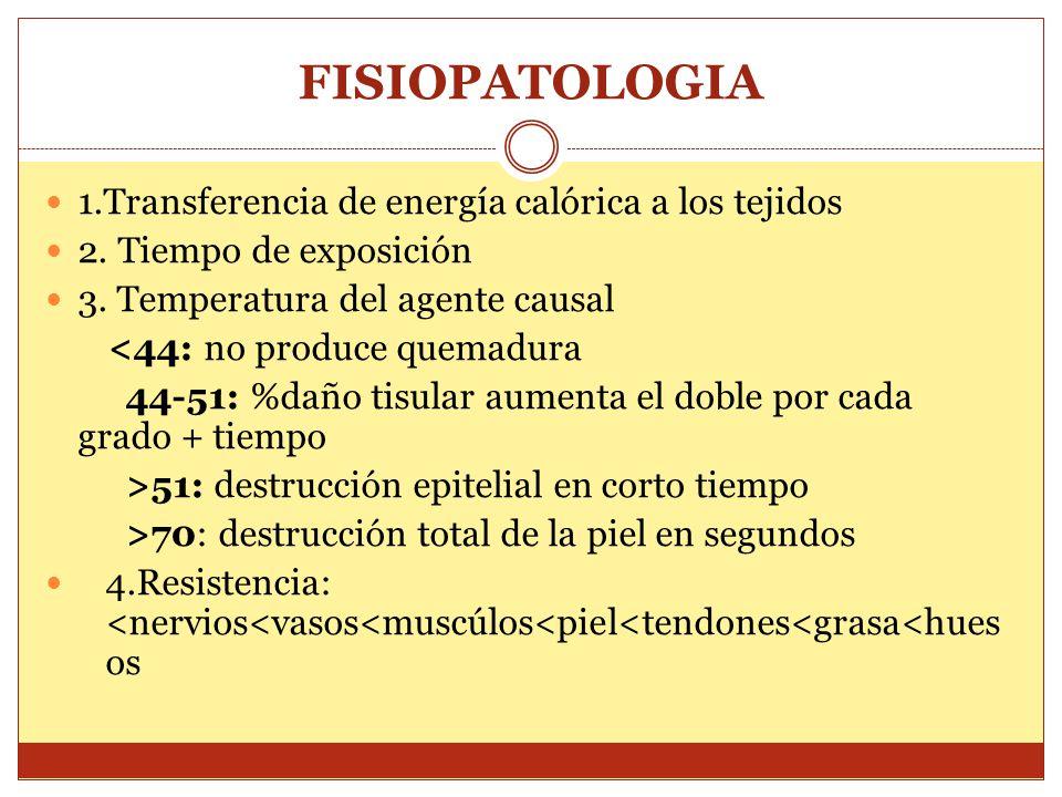 FISIOPATOLOGIA 1.Transferencia de energía calórica a los tejidos 2. Tiempo de exposición 3. Temperatura del agente causal <44: no produce quemadura 44