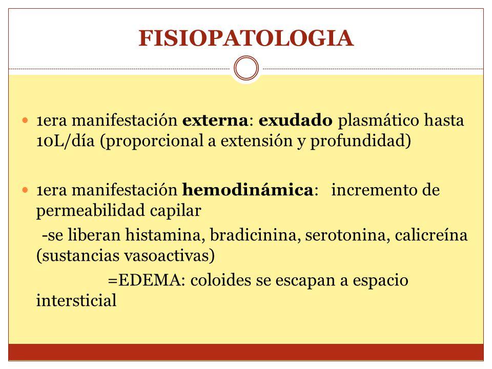 FISIOPATOLOGIA 1era manifestación externa: exudado plasmático hasta 10L/día (proporcional a extensión y profundidad) 1era manifestación hemodinámica: