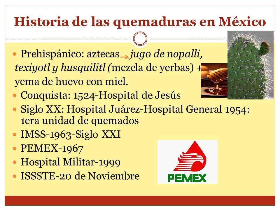 Historia de las quemaduras en México Prehispánico: aztecas jugo de nopalli, texiyotl y husquilitl (mezcla de yerbas) + yema de huevo con miel. Conquis