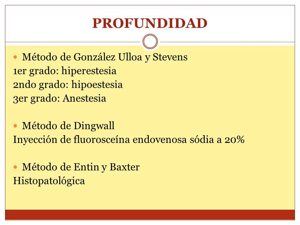 PROFUNDIDAD Método de González Ulloa y Stevens 1er grado: hiperestesia 2ndo grado: hipoestesia 3er grado: Anestesia Método de Dingwall Inyección de fl