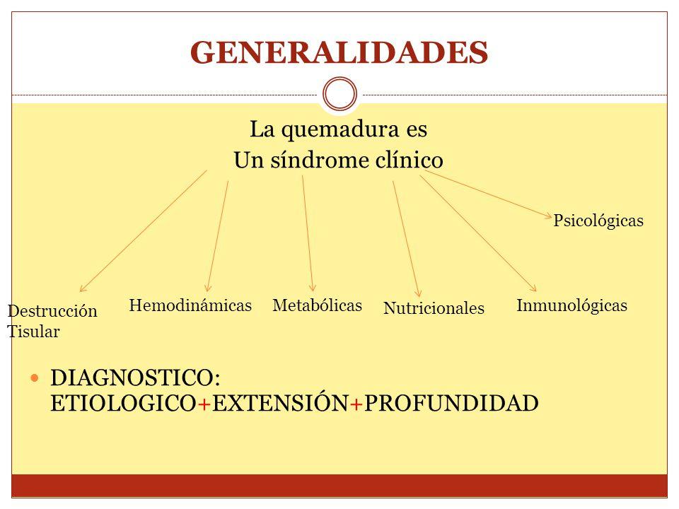 GENERALIDADES La quemadura es Un síndrome clínico DIAGNOSTICO: ETIOLOGICO+EXTENSIÓN+PROFUNDIDAD Destrucción Tisular HemodinámicasMetabólicas Nutricion