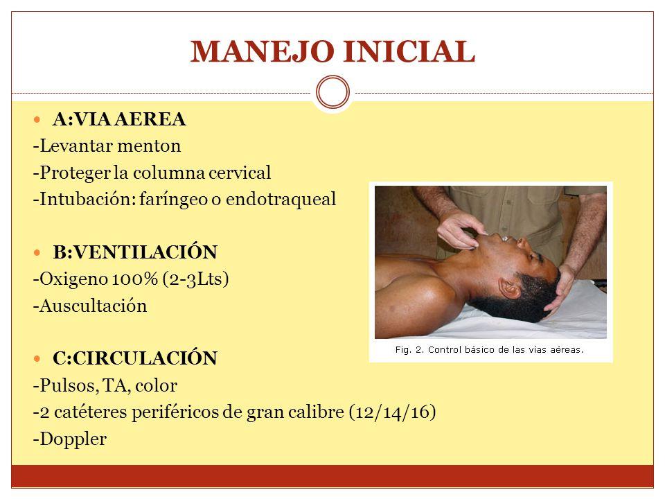A:VIA AEREA -Levantar menton -Proteger la columna cervical -Intubación: faríngeo o endotraqueal B:VENTILACIÓN -Oxigeno 100% (2-3Lts) -Auscultación C:C